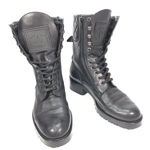 Vintage CHANEL CC Logo Leather Quilted Combat Boot